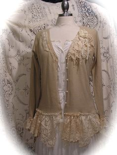 Shabby Bohemian Sweater, altered couture clothing, tattered chic doily lace, soft knit cardigan MEDIUM