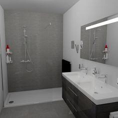 Inloopdouche met glazen wand op douchebak van 180cm. Gratis 3D ontwerpen met 360° view aanvragen?