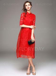 Dresses - $71.59 - Cotton Blends Solid Half Sleeve Mid-Calf Vintage Dresses (1955095829)