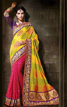 Picture of Charming Pink and Yellow Saree for Party and Wedding