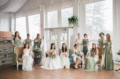 Bridesmaids in green. Bohemian-vintage tea party wedding. Emily Wren photography. Venue: the Manor at Prophecy Creek Ambler, Pennsylvania