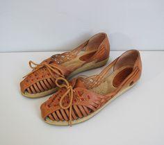 vintage woven CHEROKEE lace up sandals flats 65  7 by secretlake, $40.00