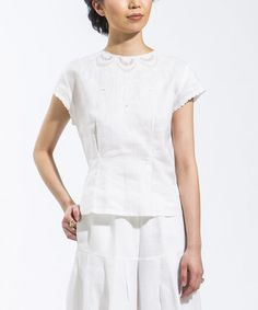 Look what I found on #zulily! White Lace-Trim Linen Button-Back Top #zulilyfinds