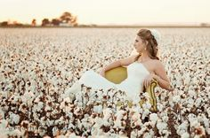Bride in funky chair in cotton field. Umm this is amazing! can we make this happen? Field Senior Pictures, Senior Photos Girls, Senior Pics, Senior Year, Cotton Field Photography, Bridal Photography, Couple Photography, Bridal Poses, Bridal Shoot