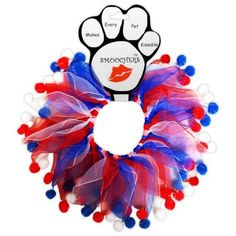 Red, White and Blue Fuzzy Dog Party Collar