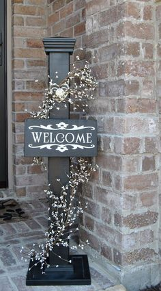 This super cute rustic sign decorative post is perfect to dress up your home or business Complete customization including size color hanging option sign Pip Berries and f. Orquideas Cymbidium, Welcome Post, Welcome Signs, Porch Posts, Porch Signs, Front Door Decor, Rustic Signs, Porch Decorating, Wood Crafts