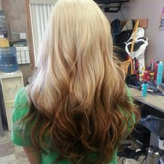 done by whitney bremer: Love this reverse ombre. Blonde to warm brown. Styled with lose waves