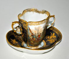 Dresden Porcelain Cabinet Cup Saucer Circa 1900 Hand Painted Scene
