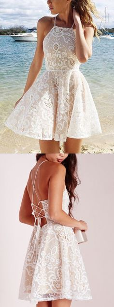 halter homecoming dresses, lace homecoming dresses, criss cross straps homecoming dresses, white homecoming dress