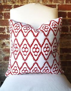 Red Geometric - Global - Hand printed on Natural Linen - Pillow Cover - 20 in square. $68.00, via Etsy.