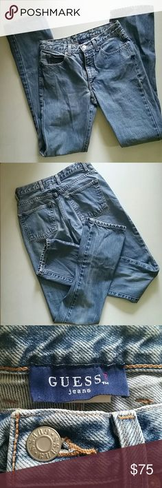 """Vintage Guess  Acid Washed ``MOM"""" Jeans Vintage '80s high waisted Guess acid washed, straight leg jeans. Measures about 13"""" across waist, inseam about 31"""". Some discoloration as shown in pic. Guess Jeans Straight Leg"""