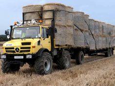 Unimog!!! With big load of round bales