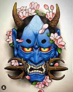 Hannya art/design done by artist 🔥 Samurai Mask Tattoo, Oni Mask Tattoo, Hanya Tattoo, Japanese Demon Tattoo, Japanese Demon Mask, Hannya Maske Tattoo, Raijin Tattoo, Mascara Oni, Samurai Artwork