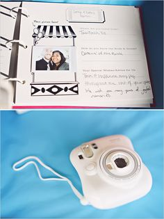 """instamax guest book""... take an instant picture and leave a note in the guest book... such a cute idea!!!"