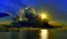 Sunlit sea & sky...