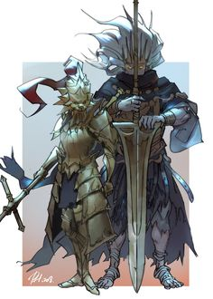 """A quick practice of Nameless King and Dragonslayer Ornstein"" Sif Dark Souls, Dark Souls Art, Fantasy Character Design, Character Concept, Character Art, Fantasy Armor, Dark Fantasy, Dnd Characters, Fantasy Characters"