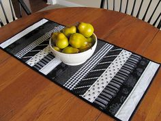 Items similar to Black and White Strip Quilted Table Runner on Etsy