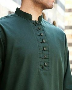 like the detail - just NOT green Mens Indian Wear, Indian Groom Wear, Indian Men Fashion, Mens Fashion Suits, Punjabi Kurta Pajama Men, Kurta Men, Gents Kurta Design, Boys Kurta Design, Kurta Designs
