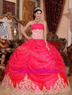 Pretty Red Strapless Sweet Sixteen Dresses with Appliques in Organza
