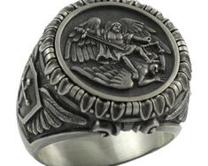 Saint St. Michael the Archangel Sterling Silver 925 Handcrafted mens Ring , Custom made Biker , US Sizes , Knigts Templar , Masonic