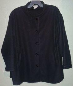 Roamans Black Fleece Coat Button Down Plus Size Woman 3x 4x 5x 6x 28/30/32/34/36 #Roamans #FleeceJacket