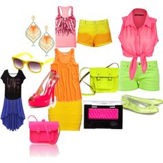polyvore neon outfits | fashion look from May 2012 featuring Miso tops, Madewell tops and ...