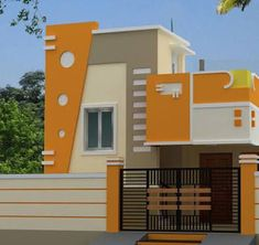 elevations of independent houses House Front Wall Design, Single Floor House Design, House Outside Design, Village House Design, Bungalow House Design, Modern House Design, Small House Design, Latest House Designs, Cool House Designs