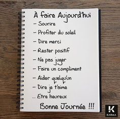 fr wp-content uploads 2015 12 Image-A-faire-aujourdhui-Studio-Karma. Positive Attitude, Positive Thoughts, Positive Vibes, Positive Quotes, Positive Mind, Miracle Morning, Quote Citation, French Quotes, Think