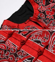 Red-floral-print-Chinese-button-fashion-blazer