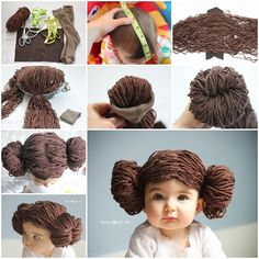 Star Wars Crochet Patterns Free Tutorial Ideas Princess+Leia+Yarn+Wig+Free+Pattern+-+lots+of+Star+Wars+Free+Crochet+Patterns+on+our+site Halloween Bebes, Baby Halloween Costumes, Baby Costumes, Baby Girl Halloween, Diy Carnaval Fantasia, Cabbage Patch Kids Costume, Cabbage Patch Hat, Star Wars Trajes, Costume Star Wars