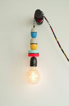 Lamp made by hand, made of painted and varnished fishing floats, cm long electric wire is trimmed wax fabric. Bulb and hanger sold separately. Decoration, Hanger, Kids Room, Bulb, Lights, Boutique, Fabric, Handmade, Etsy