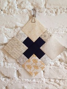 Dark solid cross with 8 background fabrics. lieblingsdecke Quilts: Bee-zy again