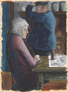 (Seated woman and man leaving café)