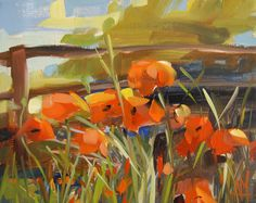 Orange Poppies original flora landscape oil painting by Angela Moulton 10 x 8 inch on linen prattcreekart