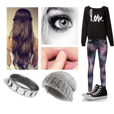 wavy hair, bold lashes, natural pink lip, gray knit beanie, ring, black converse, galaxy print skinny jeans, black love sweater, girly, cute, trend