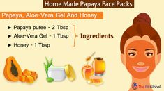 Experience a soothing papaya facial using the best papaya face packs for skin whitening, to get rid of pigmentation, pimples & lot more. Papaya Face Pack, Papaya For Skin, Papaya Facial, Uses Of Papaya, Honey For Acne Scars, Skin Care Remedies, Health Remedies, Aloe Vera Face Mask
