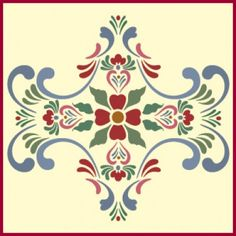 Rosemaling Pattern 13 Stencil | Rosemaling and Kurbits Scandinavian Design | Home decor and crafting stencil from The Artful Stencil! US Shipping in 5 days. Ship all over the world | Pennsylvania German and Dutch Folk Art, Fraktur Illustrations, Early American, Colonial, Primitive and Country. Denmark, Norway, Sweden, Finland, and Iceland.