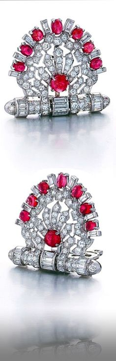 A Pair of Art Deco Diamond and Ruby Clips, Circa 1935.