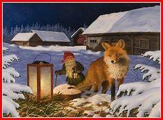 Scandinavian-Swedish-Christmas-Poster-Print-Fox-Tomte-Gnome-J-Bergerlind-0527