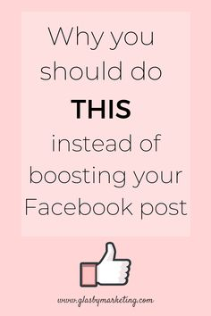 Facebook tip: what you need to be doing instead of spending money boosting posts to grow your social media following and get traction on your Facebook business page! Get all your social media marketing tips at Glasby Marketing! | #FacebookMarketing #MarketingTip #SocialMediaMarketing #SocialMediaTip #SocialMediaGrowth Facebook Business, Facebook Marketing, Social Media Marketing, Social Media Quotes, Social Media Tips, Digital Marketing Strategy, Digital Marketing Services, Business Pages, Business Tips