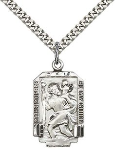 Sterling Silver St Christopher Pendant with 24 Stainless Silver Heavy Curb Chain Patron Saint of TravelersMotorists ** Be sure to check out this awesome product.