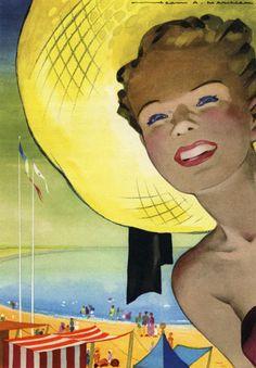"""Jean Adrien Mercier - La Baule. Extrait de """"Nantes, une porte de l'Europe"""", Nantes, Rotary-Club de Nantes, 1951, p. 211. Arch. mun. Angers, 4° 1504 (Rés. 5). © ADAGP, Paris 2010."""