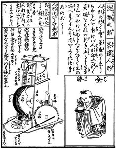 hahakobi Ningyo (Tea Serving Doll) From 'Karakuri Zuii' ('Karakuri - An Illustrated Anthology') published in 1796.