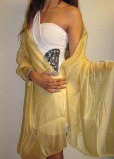 Product No.: 3207 gold chiffon organza beatiful evening wrap shawl. Great size! Amazing sheen for a dressy formal occasion.