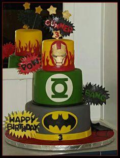 Super hero cake.iron man, green lantern, batman, spiderman birthday.