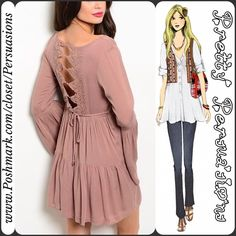 """LAST ONE Bell Sleeve Ruffle Hem Crochet Back Top NWT Taupe Boho Tiered Ruffle Hem Crochet Back Bell Sleeve Baby Doll Top  Available in sizes: S (M, L Sold Out) Measurements taken in inches from a size small:  Length: 31"""" Bust: 30""""  Material: Cotton   Features:  • solid taupe color • bell sleeves • tired ruffle hem  • ties at back  • crochet detail at back  Bundle discounts available  No pp or trades - item # 1o1090BDT blush Pretty Persuasions Tops Tunics"""
