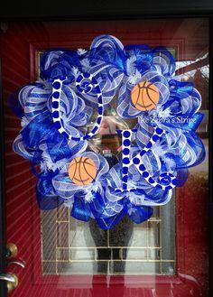 Blue and White University of Kentucky Wildcats Basketball Deco Mesh Wreath via Etsy