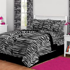 Latitude Zebra Print Complete Bed in a Bag Bedding Set queen size for madison room/ teen room 39.90
