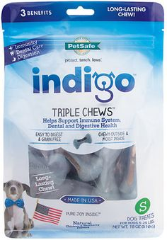 Indigo Triple Chews Chicken & Blueberry Flavor Dog Treats GRAIN FREE FOR DENTAL AND DIGESTIVE AND IMMUNE SYSTEM SUPPORT* EASY TO DIGEST--- 22.99 SMALL!