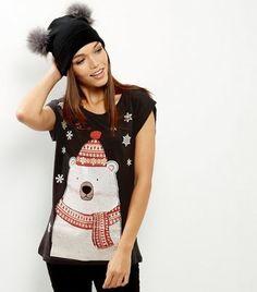 2e1b421d Black Christmas Polar Bear T-Shirt New Look Bring in the festive season in  this